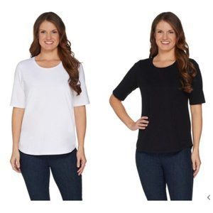 Demin & Co. Essentials Set Of Two Elbow Sleeve Top